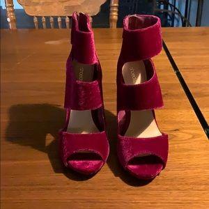 Plum velvet high heels